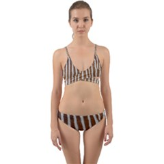 Skin Zebra Striped White Brown Wrap Around Bikini Set