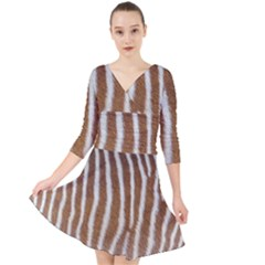 Skin Zebra Striped White Brown Quarter Sleeve Front Wrap Dress