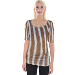 Skin Zebra Striped White Brown Wide Neckline Tee