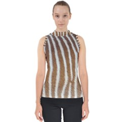 Skin Zebra Striped White Brown Mock Neck Shell Top