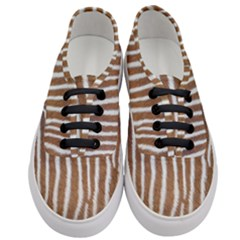 Skin Zebra Striped White Brown Women s Classic Low Top Sneakers