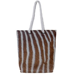 Skin Zebra Striped White Brown Full Print Rope Handle Tote (small)