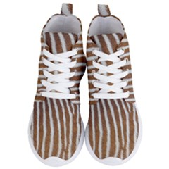 Skin Zebra Striped White Brown Women s Lightweight High Top Sneakers