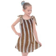 Skin Zebra Striped White Brown Kids  Tie Up Tunic Dress