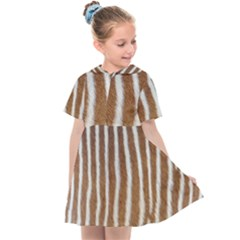 Skin Zebra Striped White Brown Kids  Sailor Dress