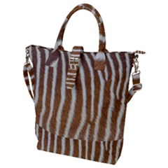 Skin Zebra Striped White Brown Buckle Top Tote Bag