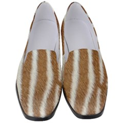Skin Zebra Striped White Brown Women s Classic Loafer Heels