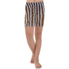 Skin Zebra Striped White Brown Kids  Lightweight Velour Capri Yoga Leggings
