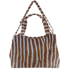 Skin Zebra Striped White Brown Double Compartment Shoulder Bag