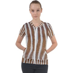 Skin Zebra Striped White Brown Short Sleeve Zip Up Jacket