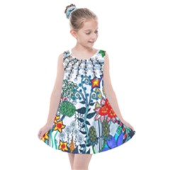 Moon And Flowers Abstract Kids  Summer Dress by okhismakingart