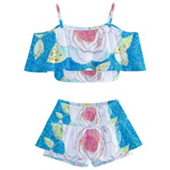 Favorite Rose Watercolor   Kids  Off Shoulder Skirt Bikini by okhismakingart