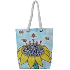 Bees At Work In Blue  Full Print Rope Handle Tote (small)