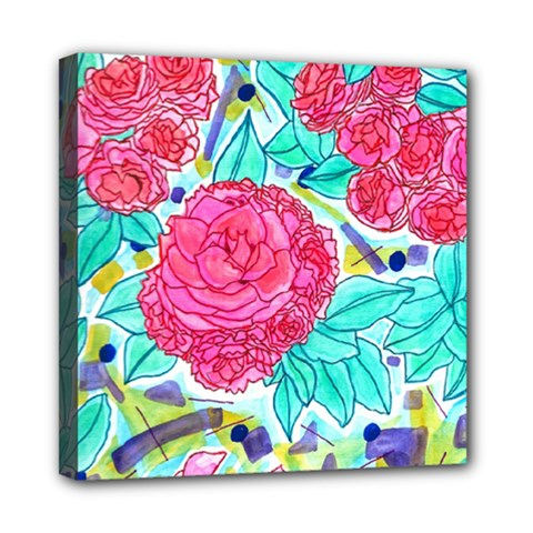 Roses And Movie Theater Carpet Mini Canvas 8  X 8  (stretched) by okhismakingart