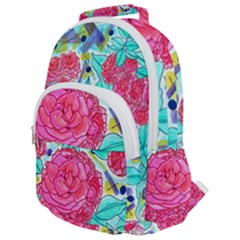 Roses And Movie Theater Carpet Rounded Multi Pocket Backpack by okhismakingart