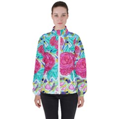 Roses And Movie Theater Carpet Women s High Neck Windbreaker by okhismakingart