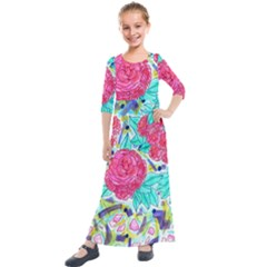Roses And Movie Theater Carpet Kids  Quarter Sleeve Maxi Dress by okhismakingart
