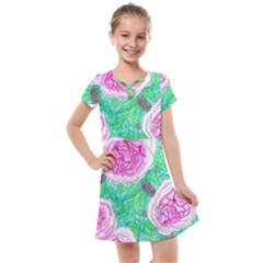 Roses With Gray Skies Kids  Cross Web Dress by okhismakingart