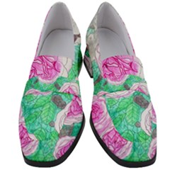 Roses With Gray Skies Women s Chunky Heel Loafers