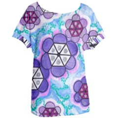 Hexagonal Flowers Women s Oversized Tee by okhismakingart