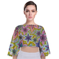 Bubble Flowers Tie Back Butterfly Sleeve Chiffon Top