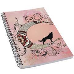 Wonderful Mandala Moon With Wolf 5 5  X 8 5  Notebook by FantasyWorld7