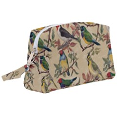 Vintage Birds Wristlet Pouch Bag (large)