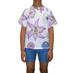 Flower And Insects Kids  Short Sleeve Swimwear by okhismakingart