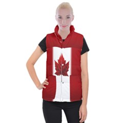Canada Flag Jackets Women s Button Up Puffer Vest by CanadaSouvenirs