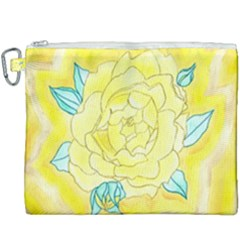 Neutral Rose Watercolor Canvas Cosmetic Bag (xxxl)