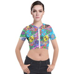 Stained Glass Flowers  Short Sleeve Cropped Jacket