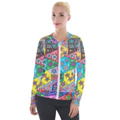 Stained Glass Flowers  Velour Zip Up Jacket by okhismakingart