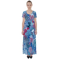 Floral Jungle Blue High Waist Short Sleeve Maxi Dress