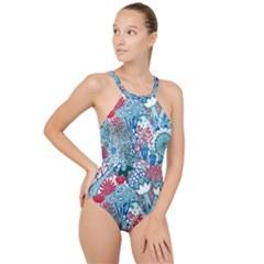 Floral Jungle Blue High Neck One Piece Swimsuit
