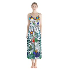 Moon And Flowers Abstract Button Up Chiffon Maxi Dress