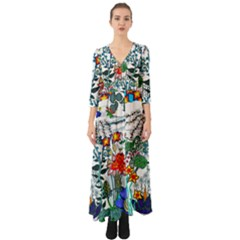 Moon And Flowers Abstract Button Up Boho Maxi Dress