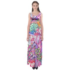 Trippy Forest Full Version Empire Waist Maxi Dress