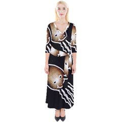Friendly Firework Squid Quarter Sleeve Wrap Maxi Dress