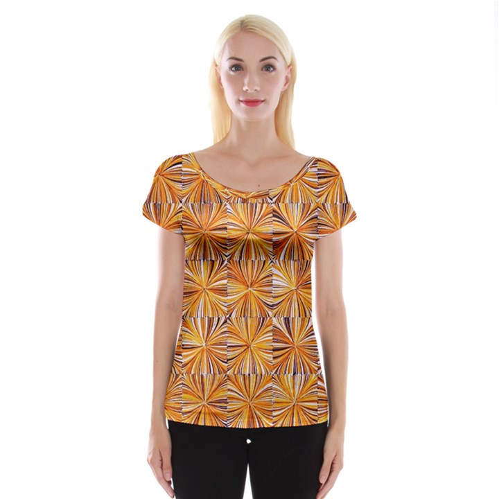 Electric Field Art V Cap Sleeve Top