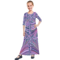 Electric Field Art Ix Kids  Quarter Sleeve Maxi Dress by okhismakingart