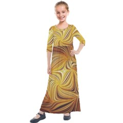 Electric Field Art L Kids  Quarter Sleeve Maxi Dress by okhismakingart