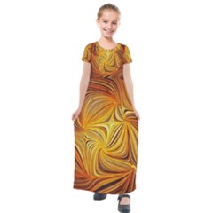 Electric Field Art Li Kids  Short Sleeve Maxi Dress by okhismakingart