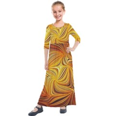 Electric Field Art Li Kids  Quarter Sleeve Maxi Dress by okhismakingart