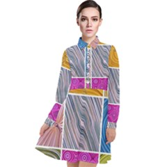 Electric Field Art Collage Ii Long Sleeve Chiffon Shirt Dress
