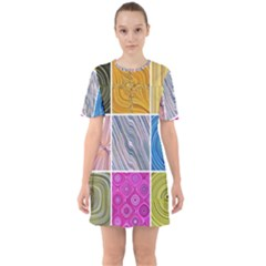 Electric Field Art Collage Ii Sixties Short Sleeve Mini Dress by okhismakingart