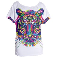 Tiger   White Background Women s Oversized Tee by WensdaiAddamns
