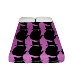 Cat Silouette Pattern Pink Fitted Sheet (full/ Double Size)