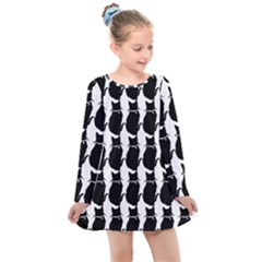 Cat Silouette Pattern Kids  Long Sleeve Dress by snowwhitegirl