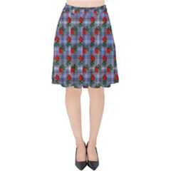 Roses Blue Plaid Velvet High Waist Skirt by snowwhitegirl