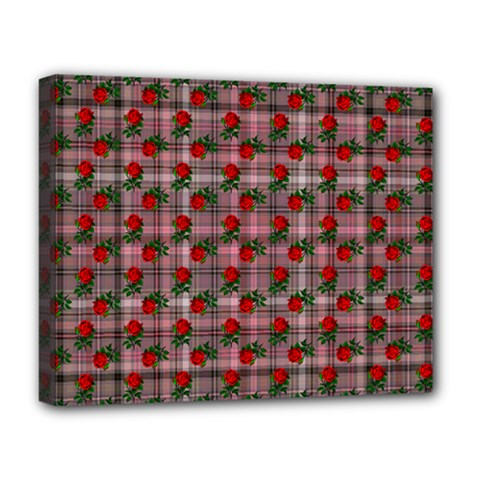 Roses Pink Plaid Deluxe Canvas 20  X 16  (stretched)
